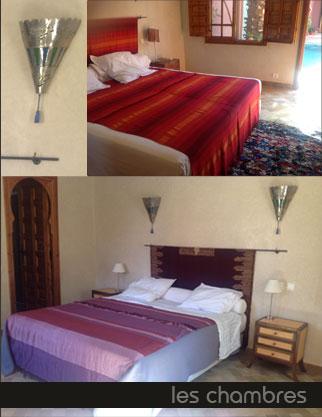 Les chambres du Riad Al Janna résidence Ayda à Marrakech